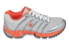 K-Swiss Women's K-ONA C Tennis Shoes (Silver/ Charcoal/ Orange)