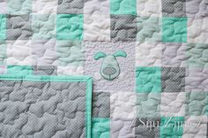 Patchwork for kids, with mint and dog / Jana Bečková Mint, Quilts, Blanket, Dogs, Scrappy Quilts, Quilt Sets, Pet Dogs, Doggies, Blankets