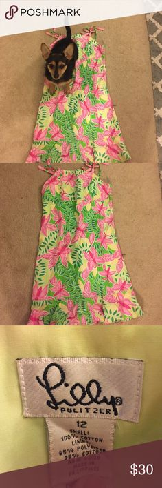 dress with tie straps dog not for sale, green and pink KIDS dress ruffled bottom Lilly Pulitzer Dresses