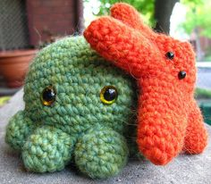 crocheted octopus & starfish by moon angel, via Flickr