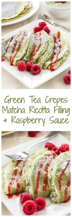 Green Tea Crepes with Matcha Ricotta Filling & Raspberry Sauce | Green tea lovers these crepes are the perfect treat for you! #breakfast #goinggreen