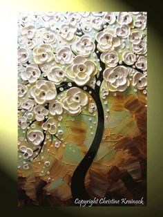 ORIGINAL #Art Abstract #Painting White Cherry Tree Paintings Blossoming Flowers…