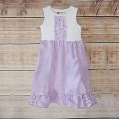 7/10  White Knit and Purple Seersucker Lily Dress