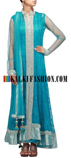 Buy Online from the link below. We ship worldwide (Free Shipping over US$100) http://www.kalkifashion.com/blue-anarkali-suit-embroidered-in-aari-and-stone-embroidery.html Blue anarkali suit embroidered in aari and stone embroidery