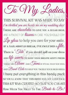 Bridal survival kit note