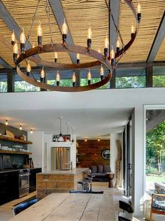 Modern Interior Design Ideas, Natural Rope Ceiling Design and Reclaimed Barn Wood