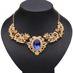 Sale 27% (4.15$) - Gold Plated Hollow Metal Lace Pattern Crystal Necklace For Women
