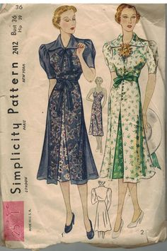 30s vintag fashion color illustration dress cocktail day art deco knee length black floral sheer overdress green white floral print bow puff sleeves 2412 Vintage Simplicity Sewing Pattern Misses 1930's One Piece Dress Slip OOP 18