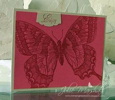 handmade greeting card from Stamping Impressions ... swallowtail butterfly fills the card ... luv the clear embossing on deep rose pink ... Stampin' Up!