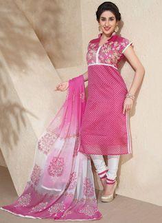 Attractive Chanderi Silk Churidar Suit