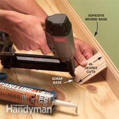 Wall molding: You can get perfectly tight joints and smooth, clean, professional results when installing baseboard trim, even on bad walls. Baseboard Molding, Floor Molding, Base Moulding, Wall Molding, Moldings And Trim, Crown Molding, Woodworking Plans Pdf, Woodworking School, Woodworking Classes