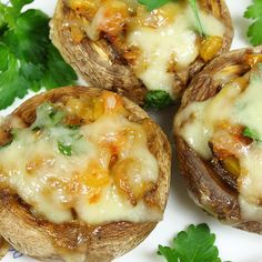 A delicious mushroom appetizer stuffed with cheese.. Cheddar Stuffed Mushrooms Recipe from Grandmothers Kitchen.