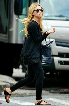 Birkenstocks, all black ensemble, Olsen, street