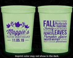 70th Birthday Glow in the Dark Cups, Fall Birthday, Leaves Birthday, Glow Birthday Party (20228)