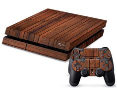 Dark wood PS4 sticker with skin + 2 control console PS4 protect skin against skin
