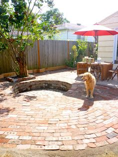 Backyard Brick Fire Pit-Recessed and Relaxation