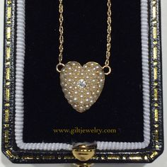 A sweet c1890 seed pearl and diamond heart pendant. $495. #giltjewelry #victorian #antique #gold #heart #pearls #pretty #sweetheart