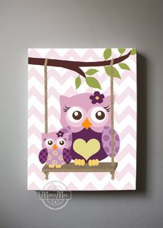 Purple Owl Decor Girls wall art - OWL Canvas Art, Baby Nursery Owl with Swing… Baby Owl Nursery, Owl Nursery Decor, Nursery Canvas Art, Owl Canvas, Baby Owls, Baby Decor, Girl Nursery, Baby Room, Elephant Nursery