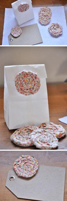 #DIY fabric rosettes; http://su.pr/34HuqK