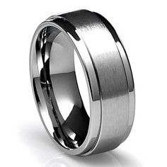 8MM Men's Titanium Ring Wedding Band with Flat Brushed Top and Polished Finish Edges Sizes 7 to 16 - http://www.ringsforhimandher.com/8mm-mens-titanium-ring-wedding-band-with-flat-brushed-top-and-polished-finish-edges-sizes-7-to-16/
