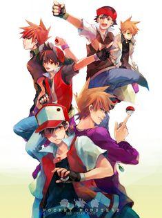 Pokemon dimensions — Ash & Gary (TV/Anime), Red & Green (Red/Green/Blue games), Red & Green/Blue (Adventures manga).