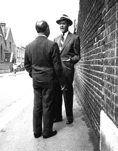 "Jimmy Stewart and Alfred Hitchcock in London during the filming of ""The Man Who Knew Too Much"" (1956)"