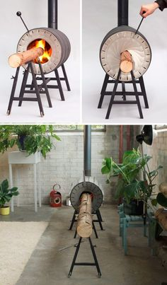This Cylindrical Stove Burns Whole Trees So You Can Stop Chopping Logs