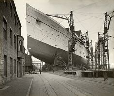 RMS Empress of Britain on the stocks at John Brown & Co. Clydebank. 1930 ocean liner.