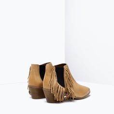 95effb42eb3 ZARA - SHOES  amp  BAGS - FRINGED HIGH HEELED LEATHER BOOTIES Zara United  Kingdom