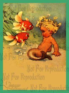 Vintage Merbaby Merboy Mermaid Quilt Fabric Block Cotton illustration 5 x 7 Mermaid Quilt, Mermaid Fabric, Fat Mermaid, Mermaid Art, Mermaid Images, Mermaid Photos, Applique, Vintage Mermaid, Mermaids And Mermen