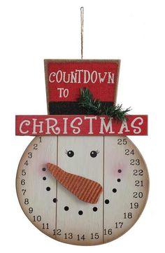 Creative Co-Op Snowman Countdown Plaque