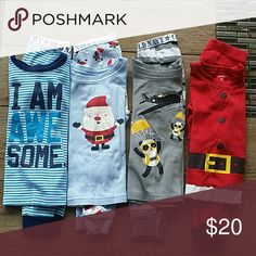 💥BUNDLE💥 PJ SETS 🌒4 sets of PJs 🌒Long sleeves with pants 🌒All are Old Navy except Santa suit which is Carter's 🌒100% cotton 🌒No stains or rips 🌒Santa suit has very little pilling, but still great looking. Just wanted to be open😉 🌒Smoke free home  Price listed is for all shown Old Navy & Carter's Pajamas Pajama Sets