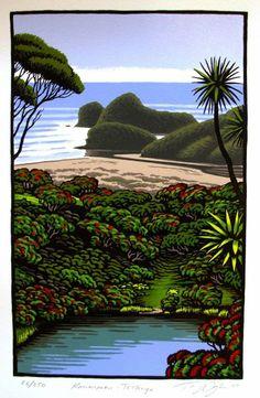 'Kawaupaku - Te Henga' by Tony Ogle, NZ. Screenprint of NZ beach, rocks and bush. 335NZD.