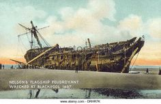 Photograph-Nelson& Flagship Foudroyant - Blackpool, Lancashire-Photograph printed in the USA Blackpool, Plymouth, Abandoned Ships, Fine Art Prints, Canvas Prints, Man Of War, Wooden Ship, The Last Ship, Navy Ships