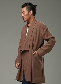 Beige Designer Chinese Style Chinese Men's Winter Long Coat via Asia-Sale Best Tai Chi, Kung Fu Clothing