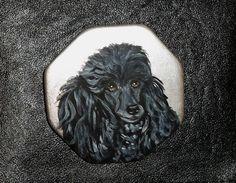 Black Poodle Dog Hand Painted Ceramic Pin by daniellesoriginals