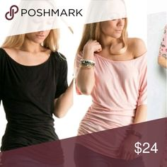 Black cold shoulder long sleeve top Amazing quality,  cotton blend,  beautiful shape at the waist,  the kind of top that if you wear it with a pencil midi skirt will look great,  jeans even better,  always put together.  Available in black and rose.  This listing is for the black one. Fashionomics Tops Tees - Long Sleeve