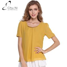 2017 Summer Casual Chiffon Blouse Women Shirts Solid O Neck Short Sleeve Pleated Blus Fashion Ladies Tops Blusas S020