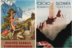 Vintage 1930s travel posters of Czechoslovakia