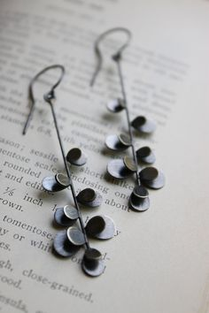 Prickly Stem Earrings, oxidized sterling silver | Moira K. Lime