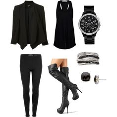 This is the absolute perfect outfit for me for work. All black, high heels, and simple but stylish jewelry.