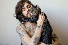 man & cat