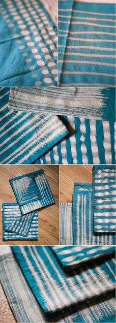 Dyeing with bleach. Time: 1 hour Materials: Cloth, bleach, q-tip/or paint brush - DIY Clothes Crafts IDeen Fabric Painting, Fabric Art, Fabric Crafts, Fabric Design, Textile Dyeing, Dyeing Fabric, Shibori Tie Dye, Bleach Dye, Tye Dye