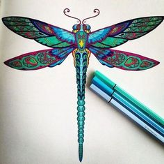 Multicolor static dragonfly tattoo design