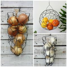 This listing is for this handy kitchen basket combo set. It features an onion and garlic wall hanging baskets and a medium size sphere basket. The