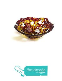 Lacy Red & Amber Handmade One of a Kind Fused Glass Bowl from Foster's Beauties http://www.amazon.com/dp/B01A2N6RMY/ref=hnd_sw_r_pi_dp_Pn3Hwb1EQ36B5 #handmadeatamazon