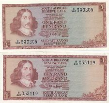 South African one rand notes.