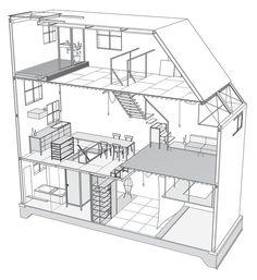 Einfamilienhaus-in-Osaka-Yo-Shimada-Tato-Architects-Koichi-Torimura – Ideen finanzieren Architecture Panel, Residential Architecture, Architecture Design, Drawing Interior, Interior Design Sketches, Japanese Buildings, Co Housing, Budget Planer, House Roof