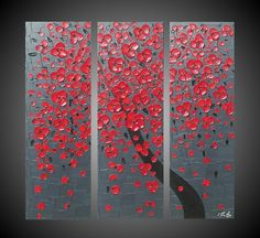 3 Panel Abstract Acrylic Painting Canvas Cherry by acrylkreativ, $235.00
