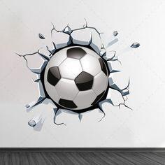 e1e3307be5 Bola de futebol a sair da parede autocolante